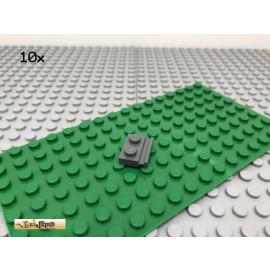 LEGO® 10Stk 1x2 Platte mit Schiene Dunkel Grau, Dark Gray 32028