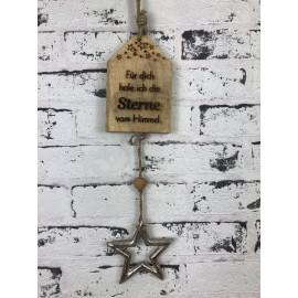 """Deko zum hängen Schild mit Spruch weihnachtlich Holz Botschaft """"Stern"""""""