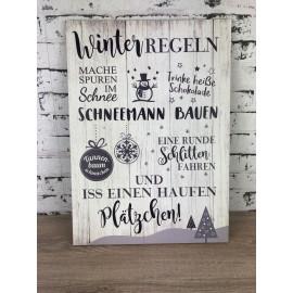 Schild Wanddekoration Bild Winter Regeln MDF Holz weihnachtlich