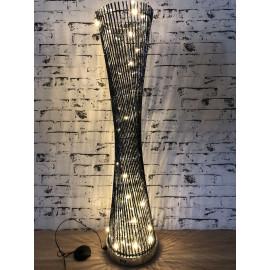 Stehlampe groß Lampe gedreht rund Wohnzimmerlampe Höhe 141cm Silber