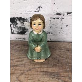 Deko Figur Engel Schutzengel sitzend im grünen Kleid shabby Look