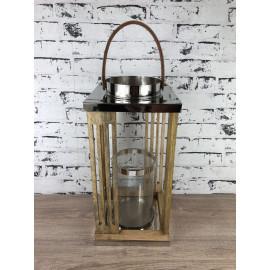 Laterne Windlicht Teelicht Beleuchtung moderner Stil Holz Metall groß